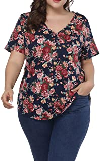 Allegrace Women Plus Size Sexy V Neck Floral T Shirt...