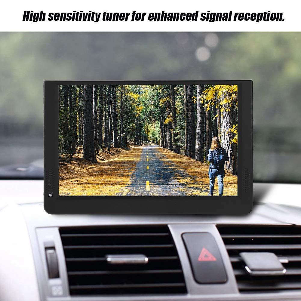 Diyeeni Televisor LED TFT HD DVB-T / T2 portátil de 12 Pulgadas, TV Digital ATV/UHF/VHF, sintonizador de TV Anlaog de TV para automóvil con Altavoz Dual de 32 mm, Entrada VGA AV