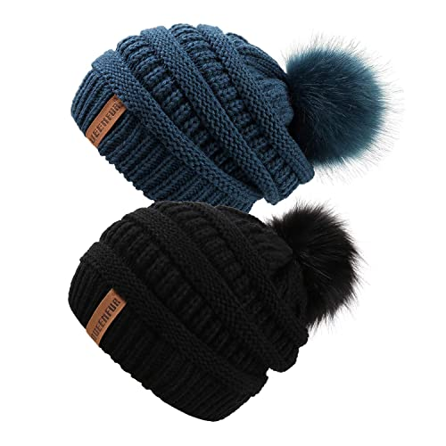 123e612ff369a QUEENFUR Women Knit Slouchy Beanie Chunky Baggy Hat with Faux Fur Pompom  Winter Soft Warm Ski