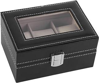 HERCHR Boite pour Montre, Coffret Montre Boite a Montre Homme, 3 Compartiments, 16 x 11 x 8 cm