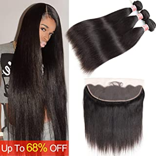 Pizazz 9A Brazilian Straight Hair Bundles with Frontal (16 18 20+14) Double Weft Remy Human Hair 3 Bundles with Frontal Closure 13x4 Lace Frontal Closure with Bundles
