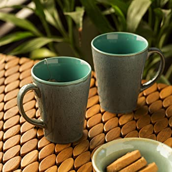 ExclusiveLane Studio Pottery Glazed Serving Tea Cups Set & Ceramic Coffee Mugs Set of 2 (320 ML, Teal Blue/Stone Blue, Microwave & Dishwasher Safe)