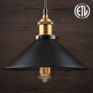 LEONLITE Industrial Hanging Pendant Light, Rustic Farmhouse Style, 10 Inch Matte Black Metal Shade, Retro Vintage Hanging Light, for Dining Room, Bars, Warehouse, E26 Base, ETL Certified