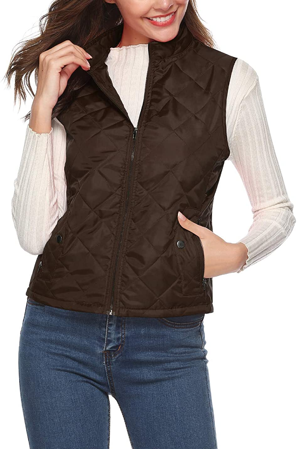 PAODIKUAI Women's Lightweight Padding Quilted Vest Cold Weather Winter Gilet Jacket