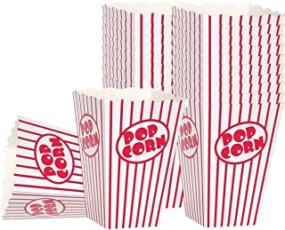 Movie Theater Party Popcorn boxes - Striped White and Red Popcorn Boxes, Great for movie night or movie party theme, theater themed decorations or Carnival party circus box etc. (30 Boxes)