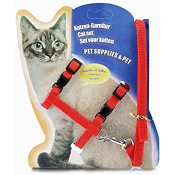 MUNCHOS Cat Harness Leash Set, 22-36 cm/10 mm, 1,20 m (Colour May Vary).