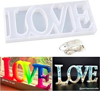 Resin Silicone Molds LET'S RESIN Love Sign Mold, Epoxy Resin Molds for DIY Table Decoration, with a Fairy Light to Create Your Romantic Resin Dream
