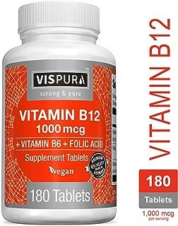 Vitamin B12 1000 mcg Methylcobalamin + B6/Folic Acid = Best Supplement to Increase Energy, Enhance Mood, Sharpen Focus and Boost Metabolism*, Vegan and Best Bioavailability, 180 Tablets