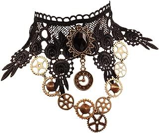 Lolita Goth Punk Wedding Party Black Steam Punk Gear Choker Necklace