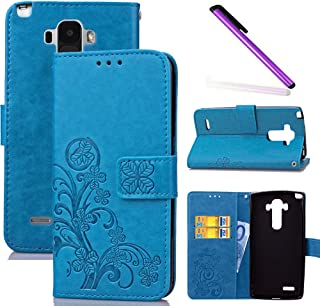 HMTECHUS LG G4 Stylus case LG G Stylo Case Embossed Floral Card Slots Wallet Magnetic Flip Stand Shockproof PU Leather Protection Slim Cover for LG G4 Stylus / LS770 Lucky Clover:Blue XD
