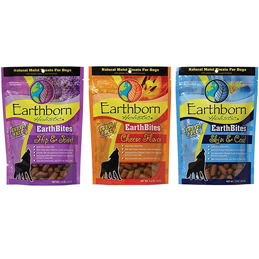 Earthborn Holistic Earthbites Grain-Free Gluten-Free and BPA-Free Natural Moist Dog Treats Variety Pack Bundle | 7.5 Ounces Each | 3 Flavors - Cheese, Whitefish, and Turkey | (3 Pouches Total)