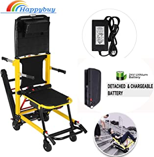 Happybuy Stair Climbing Wheelchair 350 lbs Motorized Stair Chair 200W Emergency Stair Climbing Chair 1.8 Mile/H Battery Powered Folding Crawler Climbing Chair Lift for Stairs