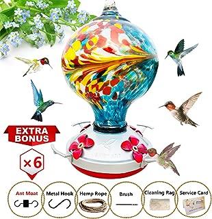 ShinyArt Hummingbird Feeder - Hand Blown Glass - Blue - 38 Fluid Ounces Nectar Capacity Include Ant Moat, Metal Hook, Hemp Rope, Brush, Cleaning Rag and Service Card
