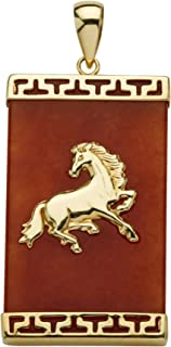 14K Yellow Gold Genuine Red Jade Horse Charm Pendant (38mm)