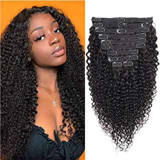 Afro Kinkys Curly Hair Extensions Clip in 8A Grade 4C Kinkys Curly Clip ins Human Hair Extensions Double Lace Wefts 1B Natural Black Color for African American Women 18 Inches 10Pcs/lot 120Gram/set