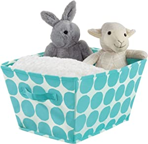 iDesign Canvas Storage Box  Large Foldable Toy Box Made Cotton Polyester Mix with Handles  Polka Dot Fabric Box for the Cupboard  Bedroom and Nursery  Teal