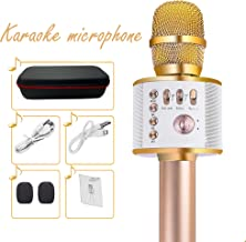 Wireless Bluetooth Karaoke Microphone for Kids Traely 3-in-1 Rechargeable Handheld Portable Karaoke Machine Christmas Birthday Gifts 3 4 5 6 Year Old Home Party for Android/iPhone/PC/TV Q37(Golden)