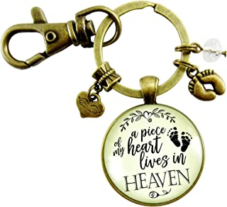 Miscarriage Baby Loss Keychain Piece of My Heart Heaven Remembrance Jewelry Baby Feet Angel Wing Charms Bereavement Gift