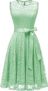 Women's Floral Lace Dress Short Bridesmaid Dresses with Sheer Neckline