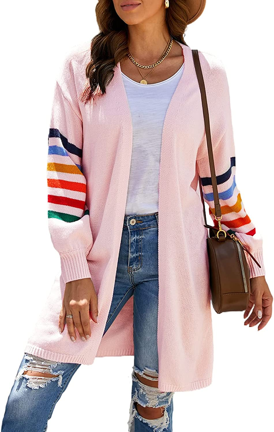 Actloe Womens Long Sleeve Open Front Cardigans Striped Color Block Loose Knit Sweaters Outwear Coat