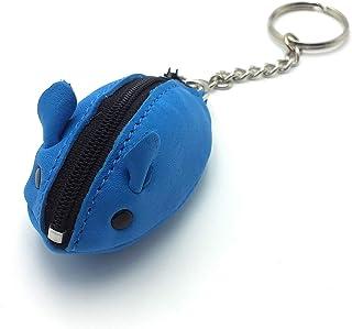 franartPiel - Llavero, monedero ratón hecho en Piel Ubrique - Alta Calidad (Azul)