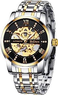 Relojes mecánicos automáticos de acero inoxidable para hombre con esqueleto de lujo, resistente al agua, esfera de diamante