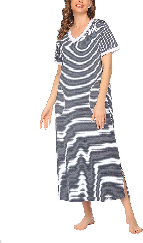 ADOME Loungewear for Women Long Nightshirt V Neck Sleep Dress Loose Sleepwear Oversize Nightgown with Pocket