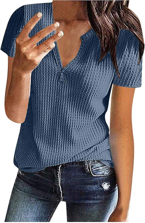 LauVery Womens Short Sleeve V Neck Tops Loose Summer T Shirts Knit Tunic Top Shirt