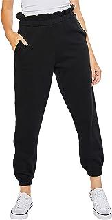 esstive Women's Ultra Soft Fleece Basic Midweight Casual Paper Bag Waist Band High Rise Joggers