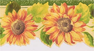 Prepasted Wallpaper Border - Orange Yellow Sunflowers Emerald Green Trim Scalloped Floral Wall Border Retro Design, Roll 15 ft. x 5 in.