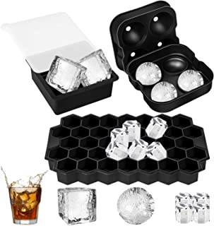 Ice Cube Trays Silicone Set of 3, Sphere Square Honeycomb Ice Cube Mold with Lids, BPA Free Ice Trays for Whiskey, Reusabl...