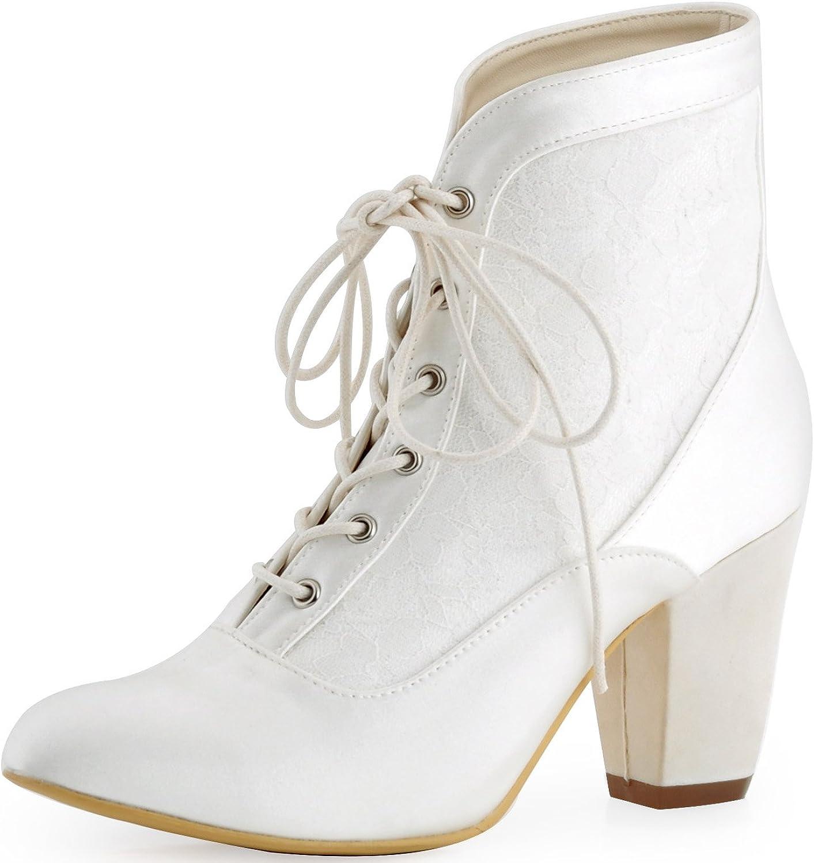 Elegantpark HC1528 Women Boots High Heel Lace-up Satin Lace Bridal Wedding shoes