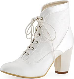 Women Closed Toe Chunky Heel Lace Up Satin Lace Wedding Bridal Boots