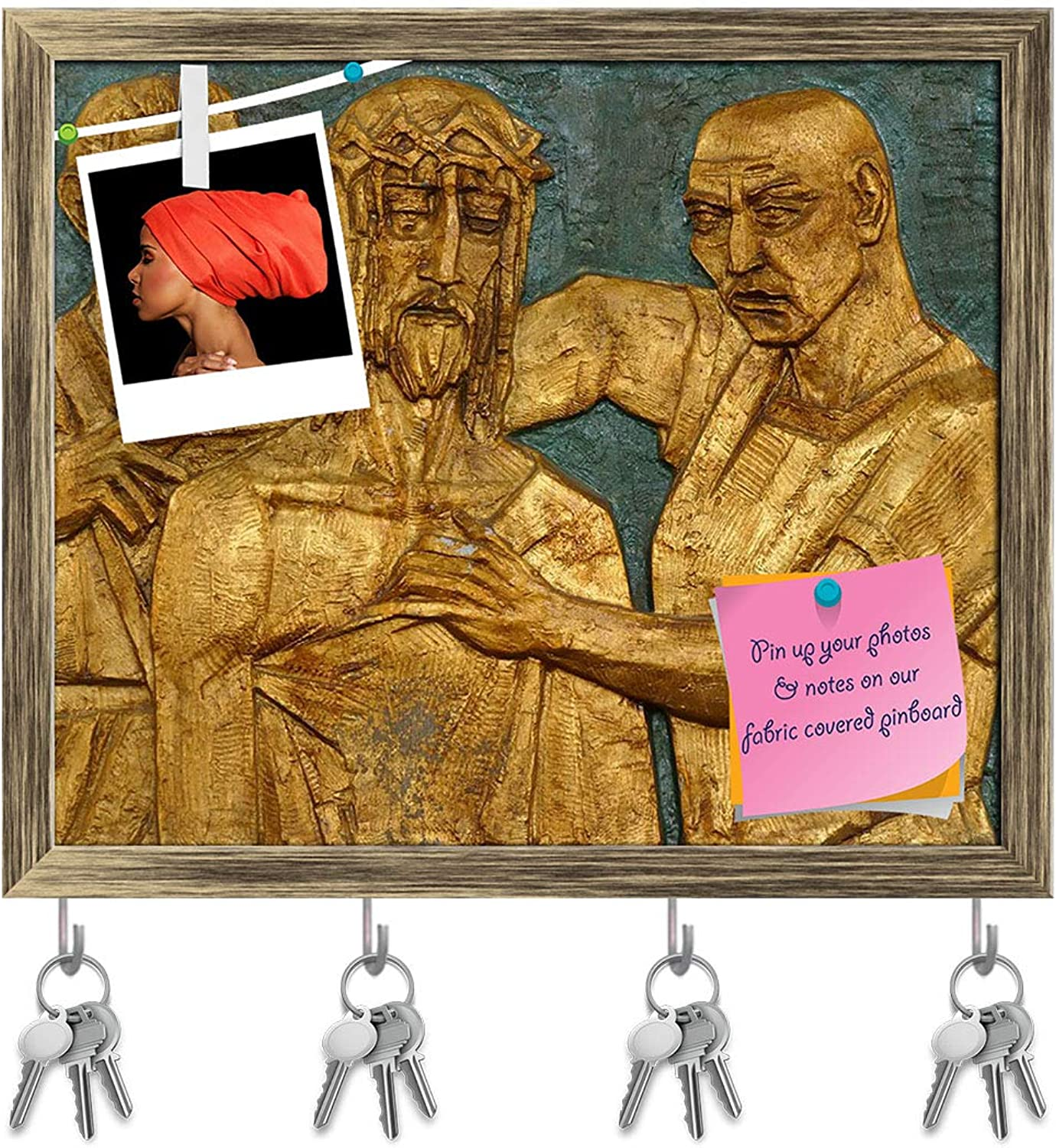Artzfolio 10Th Station of Cross Jesus Stripped of His Garments Key Holder Hooks   Notice Pin Board   Antique golden Frame 19 X 16Inch