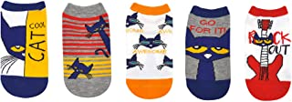 Pete the Cat Socks Gifts (Youth) (5 Pair) - Pete the Cat Costume Lowcut Socks - Fits Shoe Size: 9-3 (Kids)