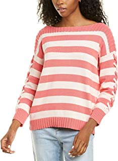 CeCe Long Sleeve Striped Boatneck Sweater with Lacing