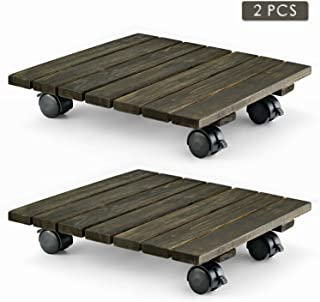 LITADA Wood Plant Caddy Heavy Duty, 14 inches Square Plant Roller with Lockable Caster Wheels, Outdoor Caddy Indoor Plant Dolly (2 Pcs)