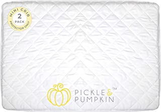 Pickle & Pumpkin Pack N Play Waterproof Crib Mattress Cover   2 pack   Soft, Fitted & Waterproof Mattress Protector for Pack n Play Mattress, Playard, Mini Crib, Playpen, Portable Crib (Size 27