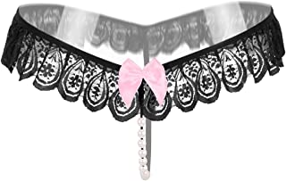 Women's Lady Lace Thong Sexy Lingerie Open Crotch Pearls G-Strings Funny Underwear Hollow Pearl Massage Butterfly with Flo...