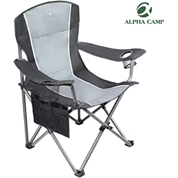 ALPHA CAMP Oversized Camping Folding Chair Heavy Duty Steel Frame Support 350 LBS Collapsible Padded Arm Chair with Cup Holder Quad Lumbar Back Chair Portable for Outdoor/Indoor
