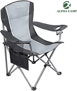 ALPHA CAMP Folding Camping Chair Heavy Duty Support 350 LBS Oversized Steel Frame Collapsible Padded Arm Chair with Cup Holder Quad Lumbar Back Chair Portable for Outdoor, Black/Gray