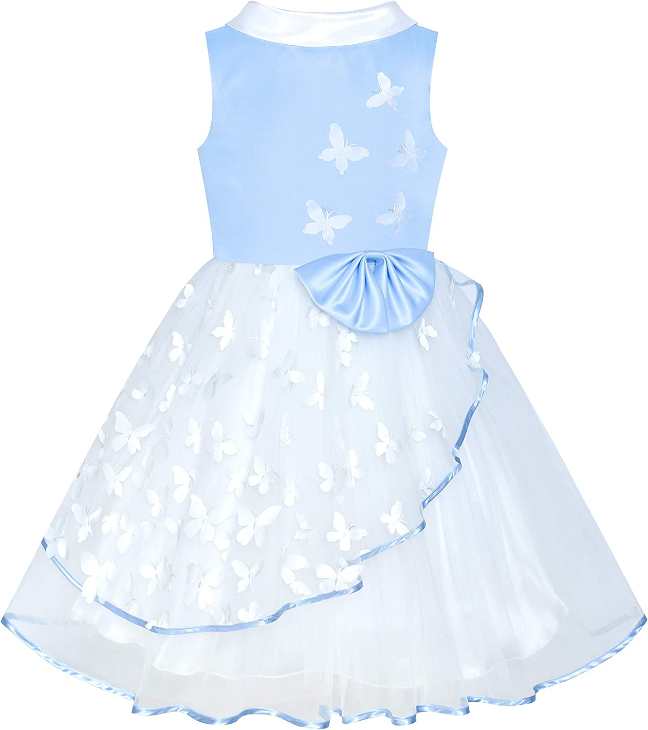 Sunny Fashion Flower Girls Dress White and Black Pageant Party