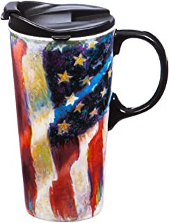 American Flag 17 OZ Ceramic Travel Cup - 4 x 5 x 7 Inches
