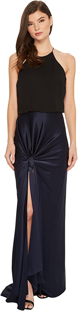 Halston Heritage - Sleeveless High Neck Satin Gown w/ Twist Drape Skirt