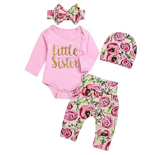 d42b0adf4c49 Borlai 4Pcs Baby Girl Little Sister Rose Flower Outfits Romper +Pants+Headband+Beanie