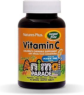 NaturesPlus Animal Parade Source of Life Sugar-Free Children's Vitamin C (2 Pack) - Natural Orange Juice Flavor - 90 Chewa...