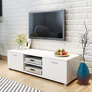 Festnight Aparador para TV Brillo Alto Color de Blanco Material de MDF 140x403x347 cm