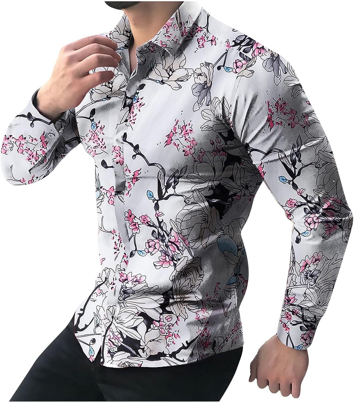 Men's Printed Beach Hawaiian Shirts Casual Long Sleeve Button-Down Slim fit Bussiness Dress Shirt