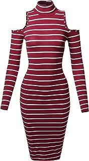 MBE Women's Casual Striped Long Sleeve Mock Neck Midi Dress