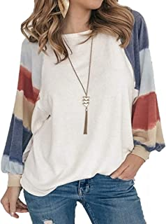 zxb-shop Women's Color Block Long Sleeves Chest Tunics Shirts Crew Neck Casual Loose Blouses Tops Tunic Tops Tee